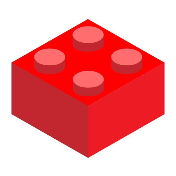 stockillustraties, clipart, cartoons en iconen met een lego. rode lego baksteen blok op witte achtergrond. vlakke stijl. bouw blok pictogram. - lego