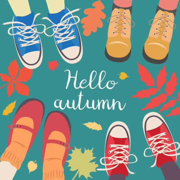 bildbanksillustrationer, clip art samt tecknat material och ikoner med benen och fallande löv runt. - children autumn