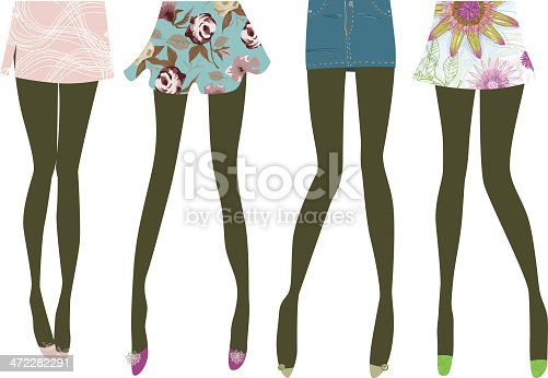 Legs silhouette with beautiful skirts patterns