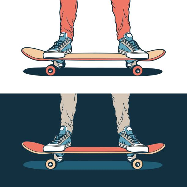 Bекторная иллюстрация Legs in classic blue sneakers stand on a skateboard