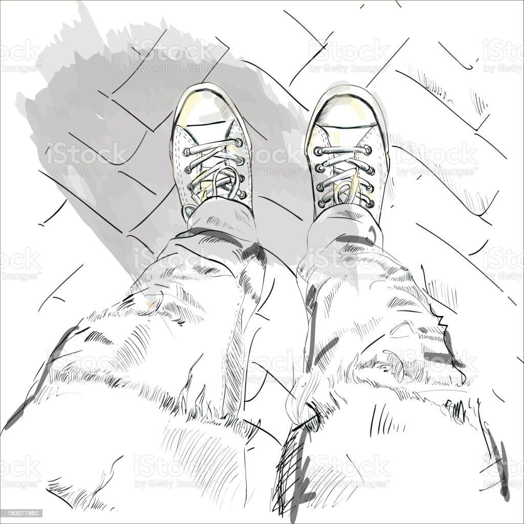 Legs in gumshoes. Vector. royalty-free stock vector art