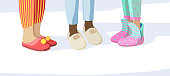 Legs in slippers. Pajama party concept kids in night clothes textile soft sandals vector pictures set. Girl comfortable clothing, footwear and slippers for pajama party illustration