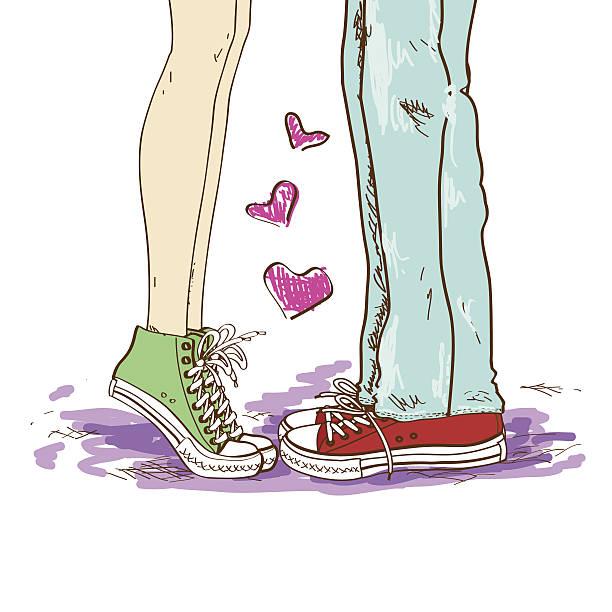 stockillustraties, clipart, cartoons en iconen met legs of couple in love - flirten