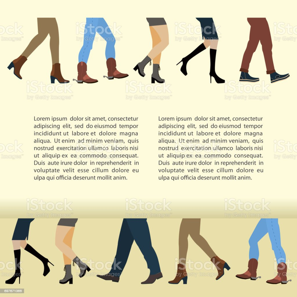 Legs of people vector art illustration