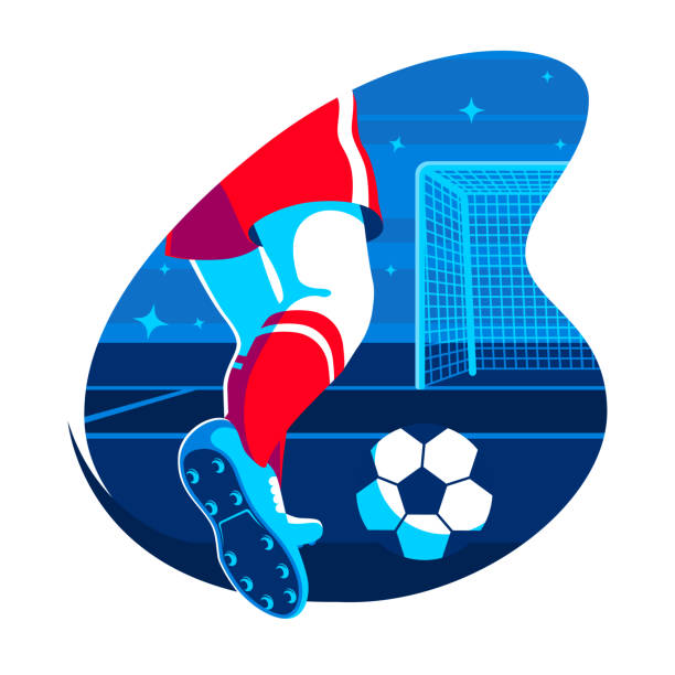 ilustrações de stock, clip art, desenhos animados e ícones de legs of soccer player with ball flat illustration. football player kicking the ball. vector element in russia colors for your design. eps 10 - calçado com pitões