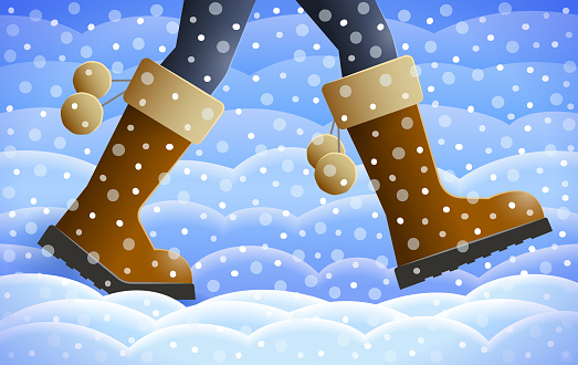 Legs of walking person over winter background, season specifics