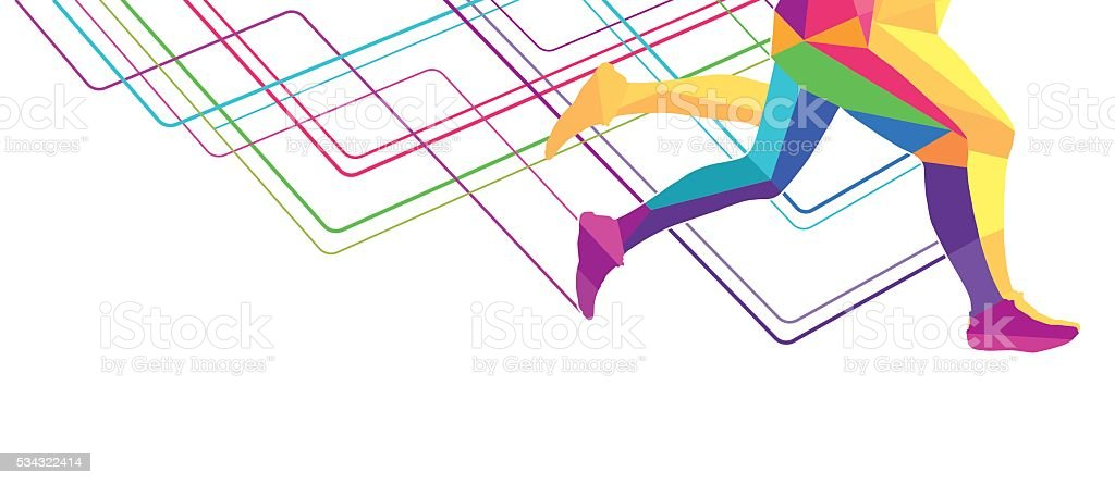 Legs runner transparent colors vector art illustration