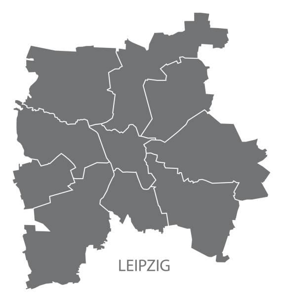 bildbanksillustrationer, clip art samt tecknat material och ikoner med leipzig city karta med boroughs grå illustration siluett form - germany map leipzig