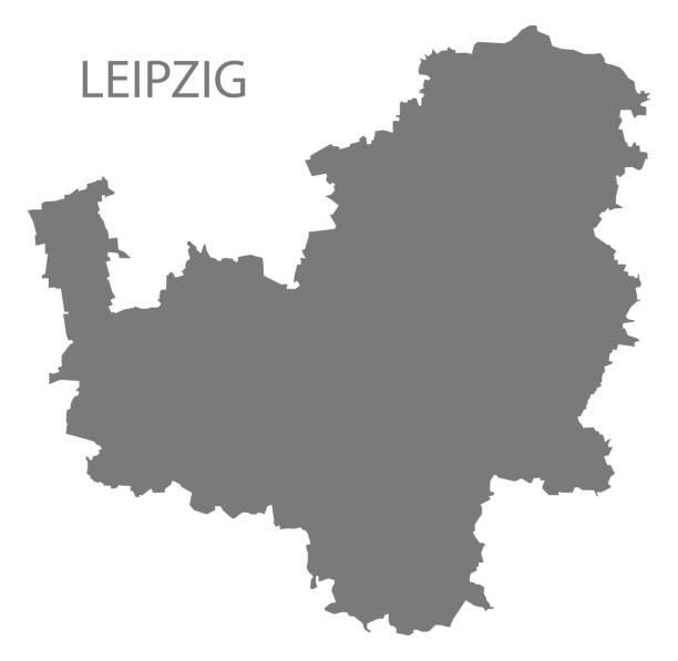 bildbanksillustrationer, clip art samt tecknat material och ikoner med leipzig grey county karta över sachsen tyskland de - germany map leipzig