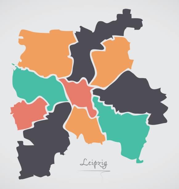 bildbanksillustrationer, clip art samt tecknat material och ikoner med leipzig karta med boroughs och moderna runda former - germany map leipzig