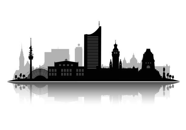 bildbanksillustrationer, clip art samt tecknat material och ikoner med leipzig silhuett vektor illustration isolerad på vit bakgrund med skugga 3d-vektor - berlin street
