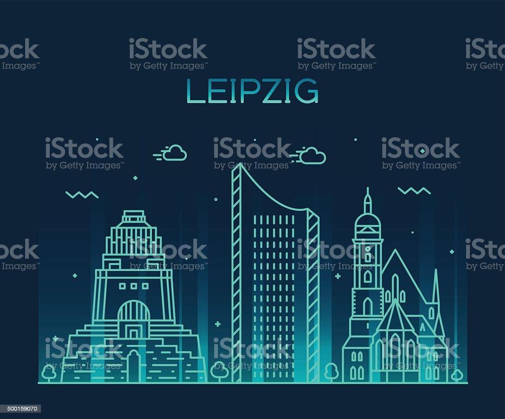 Stil Leipzig leipzig skyline linearen stil vektor illustration stock vektor