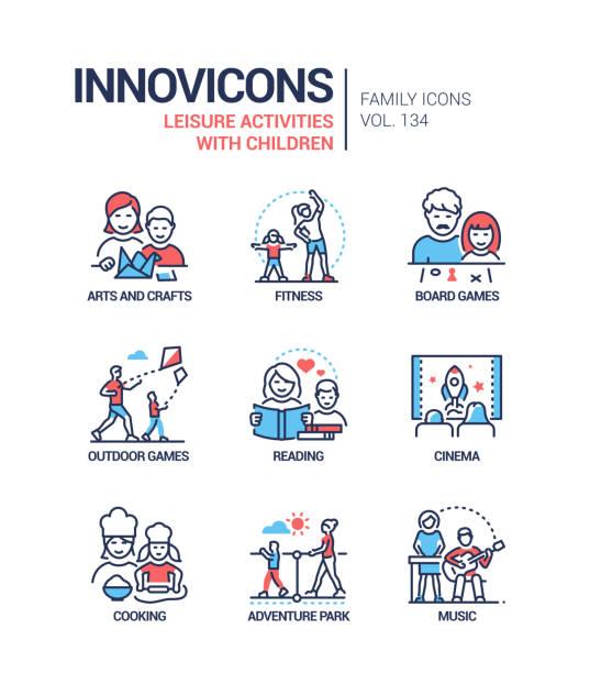 Leisure activities for children - line design style icons set vector art illustration