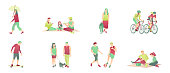 Leisure activity set, flat vector illustration. Sports family outdoor activities. People in the process of engaging in active recreation in a park isolated on a white background.