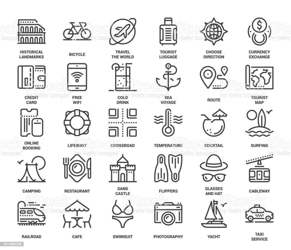 Leisure and Tourism Icons vector art illustration