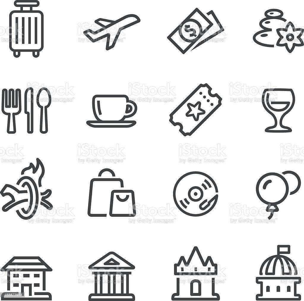 Freizeit und Reisen-Icons-Line Serie – Vektorgrafik