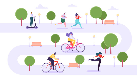 Leisure Outdoor Activities Concept. Active Characters Running in Park, Man and Woman Riding Bicycle, Girl Roller Skating, Guy on Kick Scooter. Vector Illustration