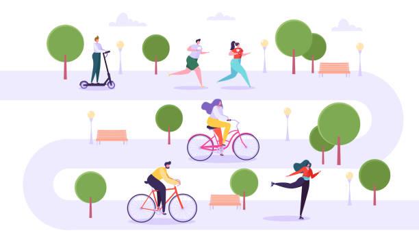 休閒戶外活動理念。活躍的人物運行在公園, 男人和女人騎自行車, 女孩輪滑, 傢伙在踢滑板車。向量插圖 - 休閒活動 主題 幅插畫檔、美工圖案、卡通及圖標