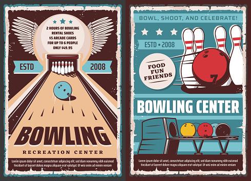 Leisure recreation sport, bowling center poster