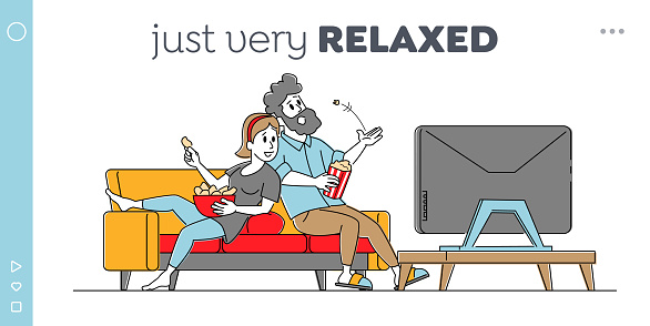 Leisure, Sparetime, Day Off Landing Page Template. Young Couple Watching TV with Popcorn at Home. Lazy Weekend Evening