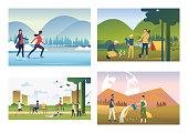 Leisure time outdoors illustration set. People skating on ice, planting trees, walking in park. Lifestyle concept. Vector illustration for landing pages, presentation slide templates