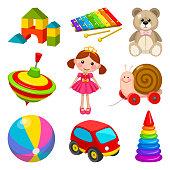 Illustrationen visar olika leksaker