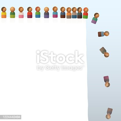 istock Lemming like toy figures jumping off a cliff. Many people do the same thing as someone else even though it may be stupid, harmful, or dangerous. Vector illustration. 1224440494