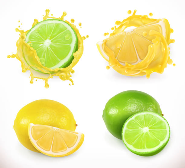 Lemon and lime juice. Fresh fruit, 3d vector icon Lemon and lime juice. Fresh fruit, 3d vector icon lime stock illustrations