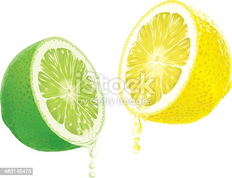 Half lime and lemon with dripping juice.