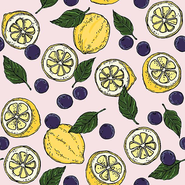 lemon blueberry basil leaf surface pattern fruity background vector - busy restaurant kitchen stock illustrations