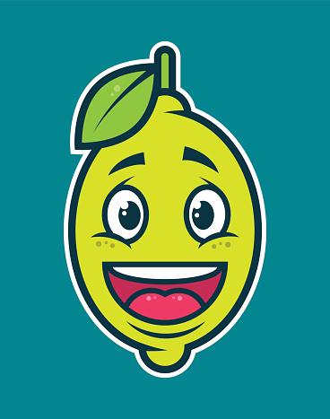 Lemon cartoon character. Happy face fruit