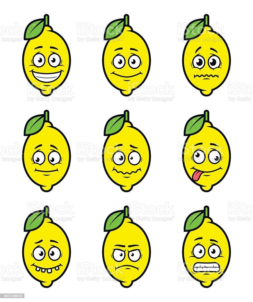 lemon cartoon facial expressions vector art illustration
