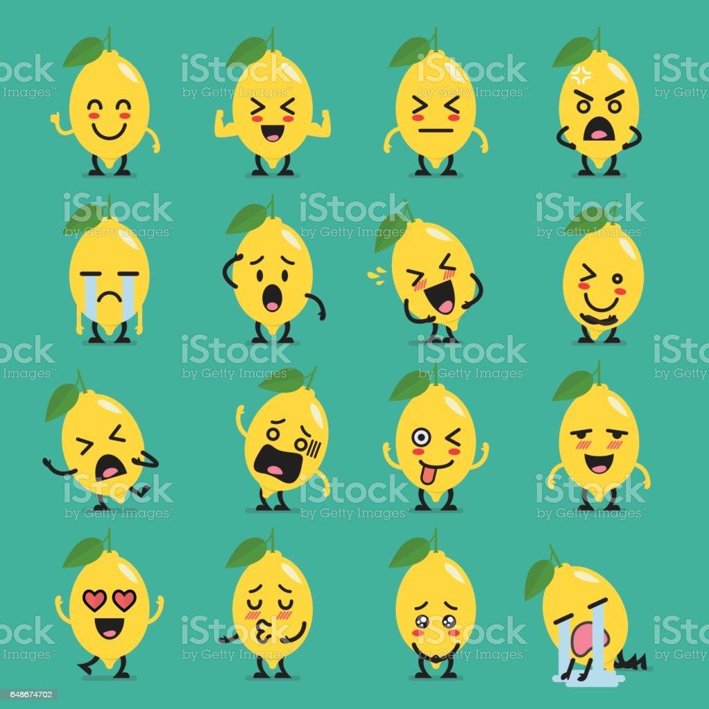 Lemon character emoji set vector art illustration