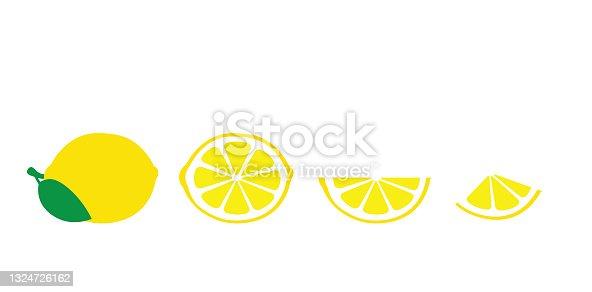 istock Lemon, citric acid, vitamin C, fresh refreshing sour fruit, for immunity. Lemon pieces and whole. Isolated image, flat vector 1324726162
