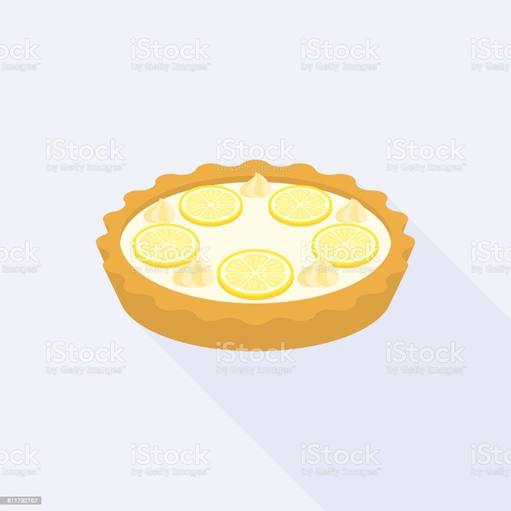 Lemon crumble tart vector art illustration