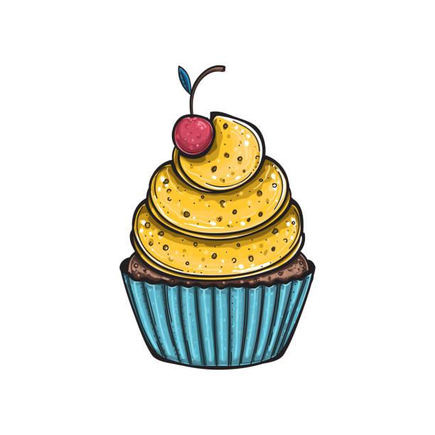 zitronen cupcake mit kirsche, vektor - pflaumenkuchen stock-grafiken, -clipart, -cartoons und -symbole