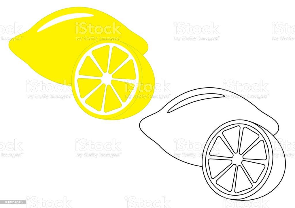 Zitrone Obst Malvorlagen Spiel Fur Kinder Vektorillustration Stock