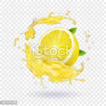 istock Lemon fruit juice splash realistic 862401296