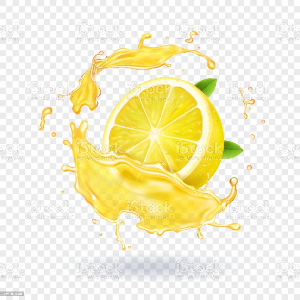 Lemon fruit juice splash realistic vector art illustration