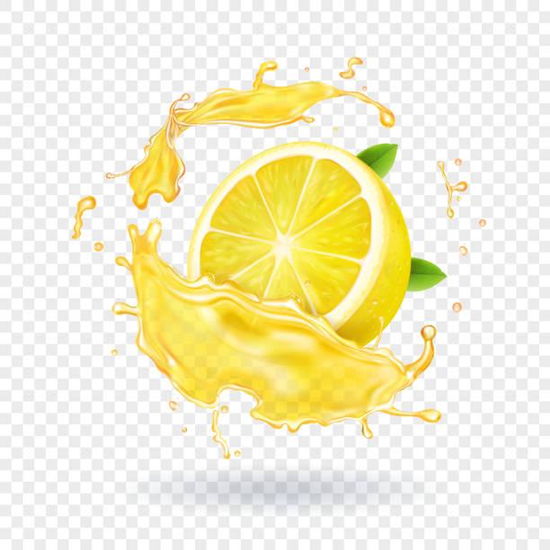 レモンのフルーツ ジュースのスプラッシュ現実的です - レモン点のイラスト素材/クリップアート素材/マンガ素材/アイコン素材