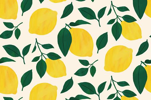 lemon fruit leaf background yellow illustration