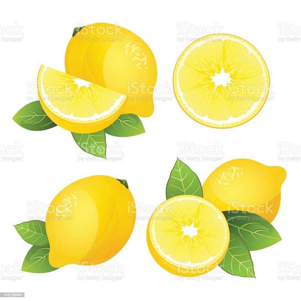 Lemon fruit slice set. Realistic citrus with leaves vector isolated Fresh lemon fruit slice set. Collection of realistic juicy citrus with leaves vector illustration isolated Boredom stock vector