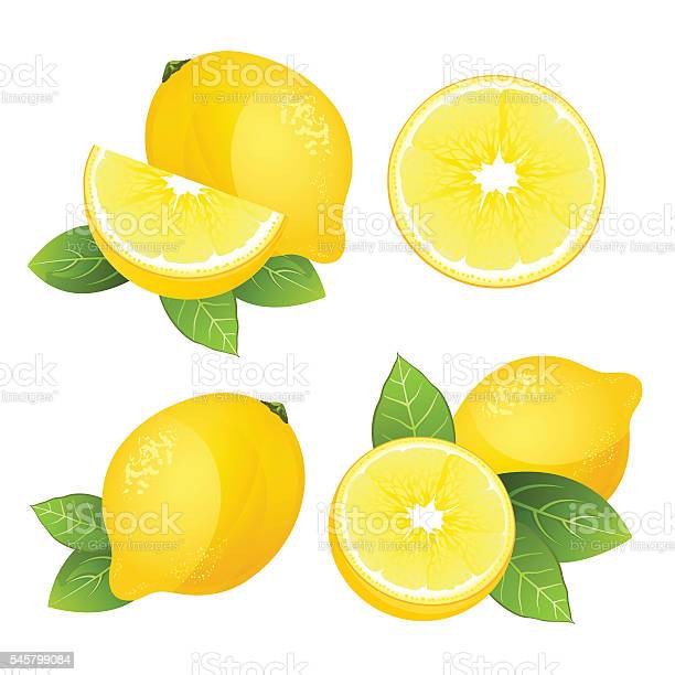 Lemon Fruit Slice Set Realistic Citrus With Leaves Vector Isolated Stock Illustration - Download Image Now