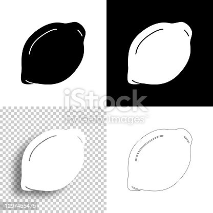 istock Lemon. Icon for design. Blank, white and black backgrounds - Line icon 1297455475