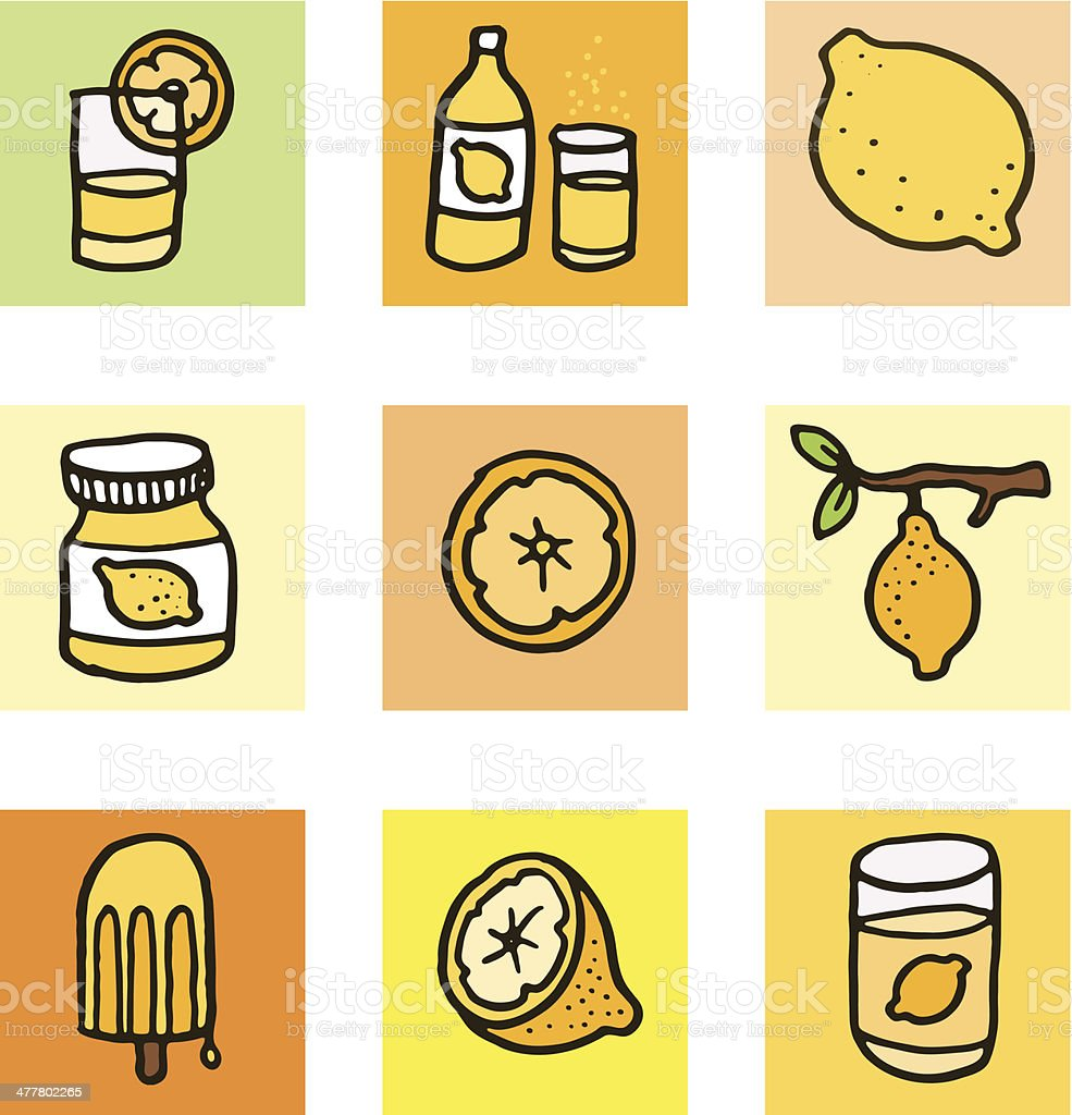 Lemon icons block icon set royalty-free stock vector art