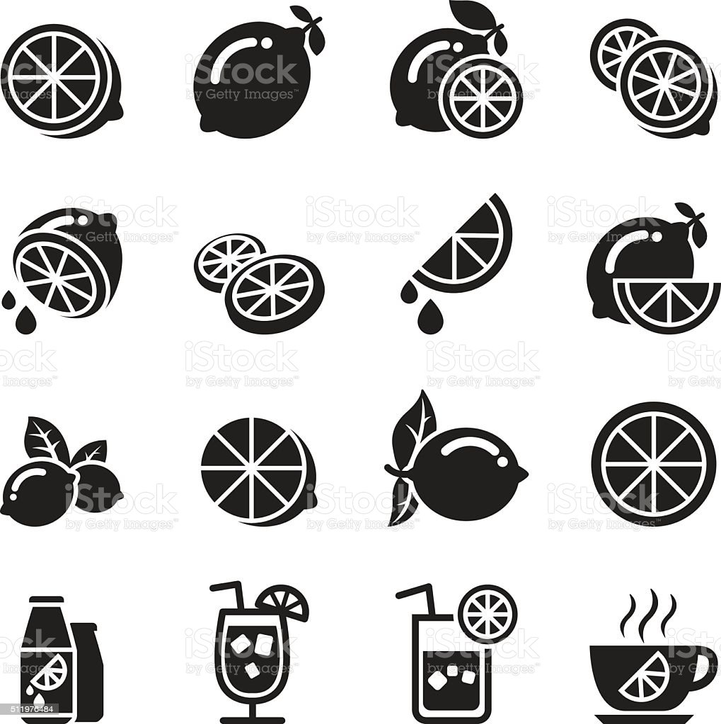 Lemon icons vector art illustration