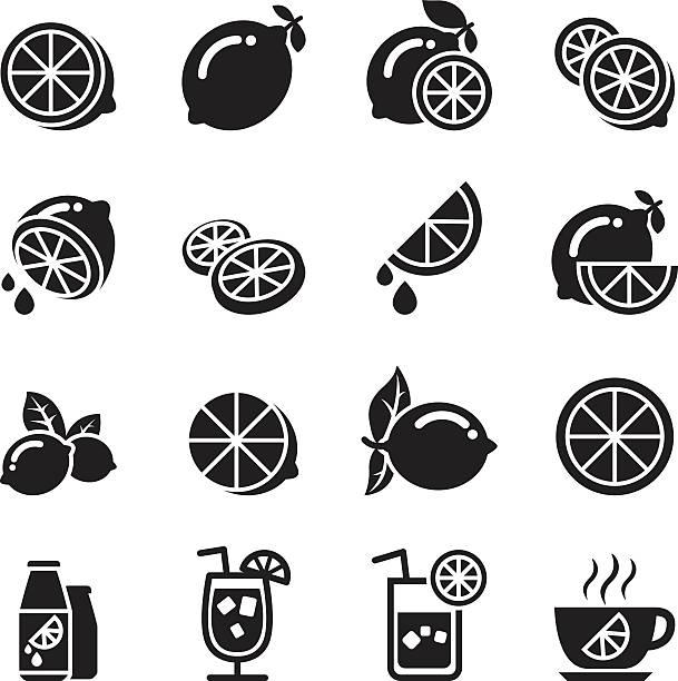 Lemon icons vector art illustration
