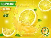 Lemon juice advertising Citrus with realistic fresh fruit. Vector ads design packaging .