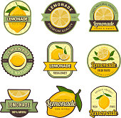 Lemon labels. Retro badges for cold juice drinks lemonade stamps for restaurant menu vector decoration set. Illustration of lemonade sweet set badge, marketing fresh label juice