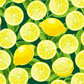 Lemon, lime seamless pattern.